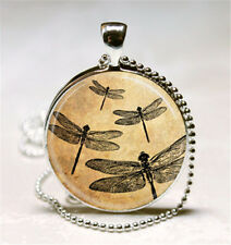 Vintage Dragonfly Cabochon Glass Pendant with Ball Chain Necklace S#24