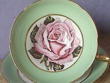Antique 1930's Taylor & Kent pink rose tea cup, Green bone china teacup