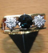 STUNNING SECONDHAND 18ct YELLOW GOLD DIAMOND AND SAPPHIRE TRILOGY RING SIZE O1/2
