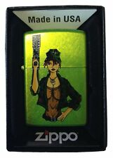 Zippo Custom Lighter - Military Big Guns & Boobs Sexy Babe Lurid Green Matte