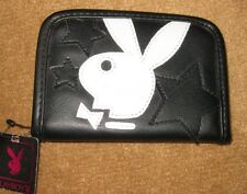 Playboy Logo WHITE Bunny w/ Faux Black Leather Bifold Wallet Officially Licensed