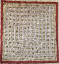 Indian mirror embroidered design cushion cover 16 x 16  taupe green multi