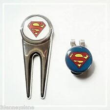anneys - 2 superman golf ball markers + divot tool + hat clip.