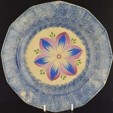 "BLUE SPATTER DAHLIA PLATE 19th C.-9"" BLUE SPATTERWARE DAHLIA PATTERN PLATE"