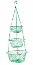 Fox Run 3 TIER Hanging VEGETABLE Fruit KITCHEN Storage WIRE BASKET ~ GREEN