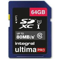 New Integral 64GB Ultima Pro SDXC Memory Card UHS-I U1 Class 10 80MBs For Camera