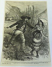 1882 magazine engraving~ THE GOLDEN ARROW-HEAD, Western Cowboy, Native Americans
