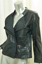 THEORY Womens Casual Classic Dark Teal Leather Long-Sleeve Zip Jacket Coat S