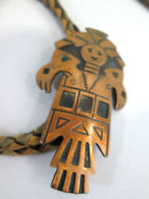 """Solid Copper Bell Craft Kachina Shaped Bolo Tie 2.50"""" long tie 34"""" leather"""