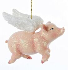 Whimsical Pink Flying Pig with Angel Wings Christmas Holiday Ornament