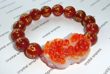 Feng Shui - 2015 Carnelian Pi Yao with Red Agate Mantra Bracelet (10mm beads)