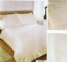 SUPER KING DUVET COVER SET DION CREAM FLORAL LACE EMBROIDERY PERCALE QUALITY