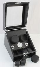 2 +4 Black Watch Winder Wood Case Box Black Leather interior Lock w/key 8055BBLG