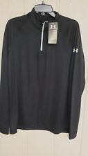 NEW MENS BLACK LONG SLEEVE UNDER ARMOUR 1/4 ZIP PULLOVER SHIRT HEAT GEAR SMALL S