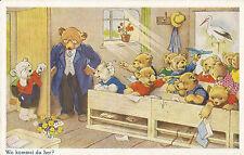 Zu Spät gekommen, Schule, Bärenschule, Teddybär, Bär, Ak von Fritz Baumgarten