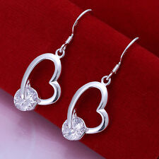 Silver Plated Crystal Heart Hollow Earrings BUY 2 GET 1 FREE (add 3 to qualify)