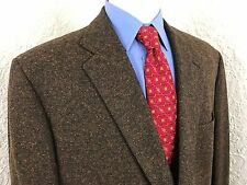 EUC Bespoke Holland & Sherry Brown Fleck Tweed 2 Button Sport Coat Mens 48 Long