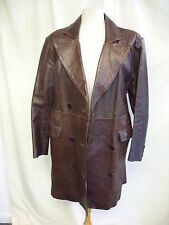 "Ladies Leather Coat brown, UK 14, bust 40"", length 38"", fitted, not perfect 2515"