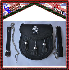 Lion Rampant Black Leather Sporran 3 Tassels Chrome Leather Sporran