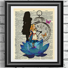 Original art print on dictionary book page Alice in wonderland blue lotus flower