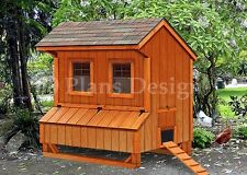 5' x 6' Chicken Coop Plans, Saltbox Style Design #E90506S, Special Price $12.95