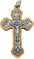 "MRT Wood & Silver Plate Inlay Pectoral Crucifix Pendant Catholic Cross 2"" Italy"