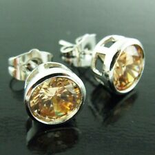 AN15 REAL 18K WHITE G/F GOLD UNISEX CHAMPAGNE DIAMOND SIMULATED STUD EARRINGS