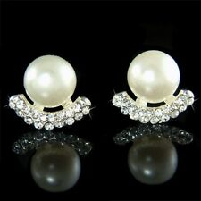 w Swarovski Crystal white Faux ~Pearl Ball~ stud Bridal Wedding Earrings Jewelry