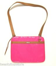 REBECCA MINKOFF CROSSBODY LAPTOP NOTEBOOK BAG in Neon Pink Patent Leather