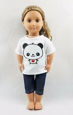 For 18''American Girl Doll Clothes Panda Pattern T-shirt & Jeans Girl Gifts