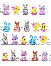 Easter Nail Art/ decals (water decals) Bunny nail art!