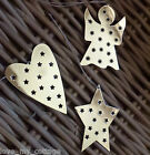 Polka Dot Hanging Set of 3 SILVER Star Heart Angel Metal Xmas Tree Decorations
