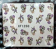 Manucure nail art stickers décalcomanie ongles: fleurs et branches violet-noir