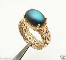 Siz 8 Technibond Labradorite Gemstone Byzantine Ring 14K Yellow Gold Clad Silver