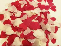 Red & ivory heart wedding confetti - party table decorations - biodegradable