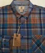 Men's Timberland Multi-Color Plaid LINEN Blend Shirt XL X-Large Slim Fit NWT $78