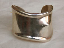 Vintage Mexican Sterling Silver BONE CUFF BRACELET for Left Wrist 66 grams