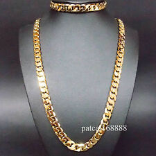 STAMPED ITALY 24KGL  24K Yellow Gold Filled Men's  Chain Necklace Bracelet  CA
