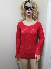 Victorias secret moda Intl RED Spandex STRETCH LACE scoop Sexy TUNIC top Shirt M