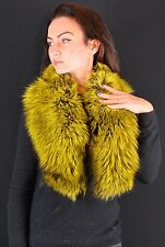 Golden Yellow GenuineSilver Real Fox Collar Neck Wrap Scarf Stole