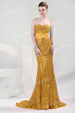 Graceful Women's Sequins Designer Strapless Formal Evening Cocktail Long Dresses