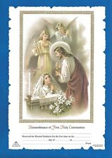FIRST HOLY COMMUNION Certificate Jesus with GIRL & angels Catholic picture Italy