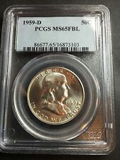 1959-D Franklin Dollar PCGS MS 65 FBL Cert# 16873101