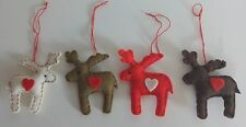 JOBLOT 30 ditsy MOOSE reindeer RUDOLPH felt XMAS tree decorations red heart
