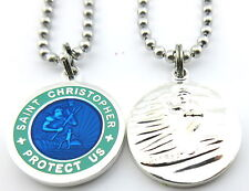 Saint Christopher Surf Medal Protector of Travel rb-te Royal Blue-Teal Medium