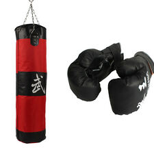 39'' MMA Boxing Heavy Punching Bag With Chain (Empty) + Boxing Gloves Black