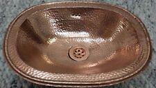 Grand rouge cuivre fait main marocain salle de bain-bassin ovale, martelé 49x39 H12 cm