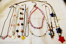 Lot of 10 Glass Crystal Metal Bead Enamel Chain Star charms necklaces