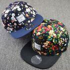 Men Women Floral Snapback Flat Peaked Adjustable Baseball Cap Flower Hip Hop Hat