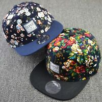 Men Women Floral Snapback Flat Peaked Adjustable Baseball Cap Flower Hip Hop Hat